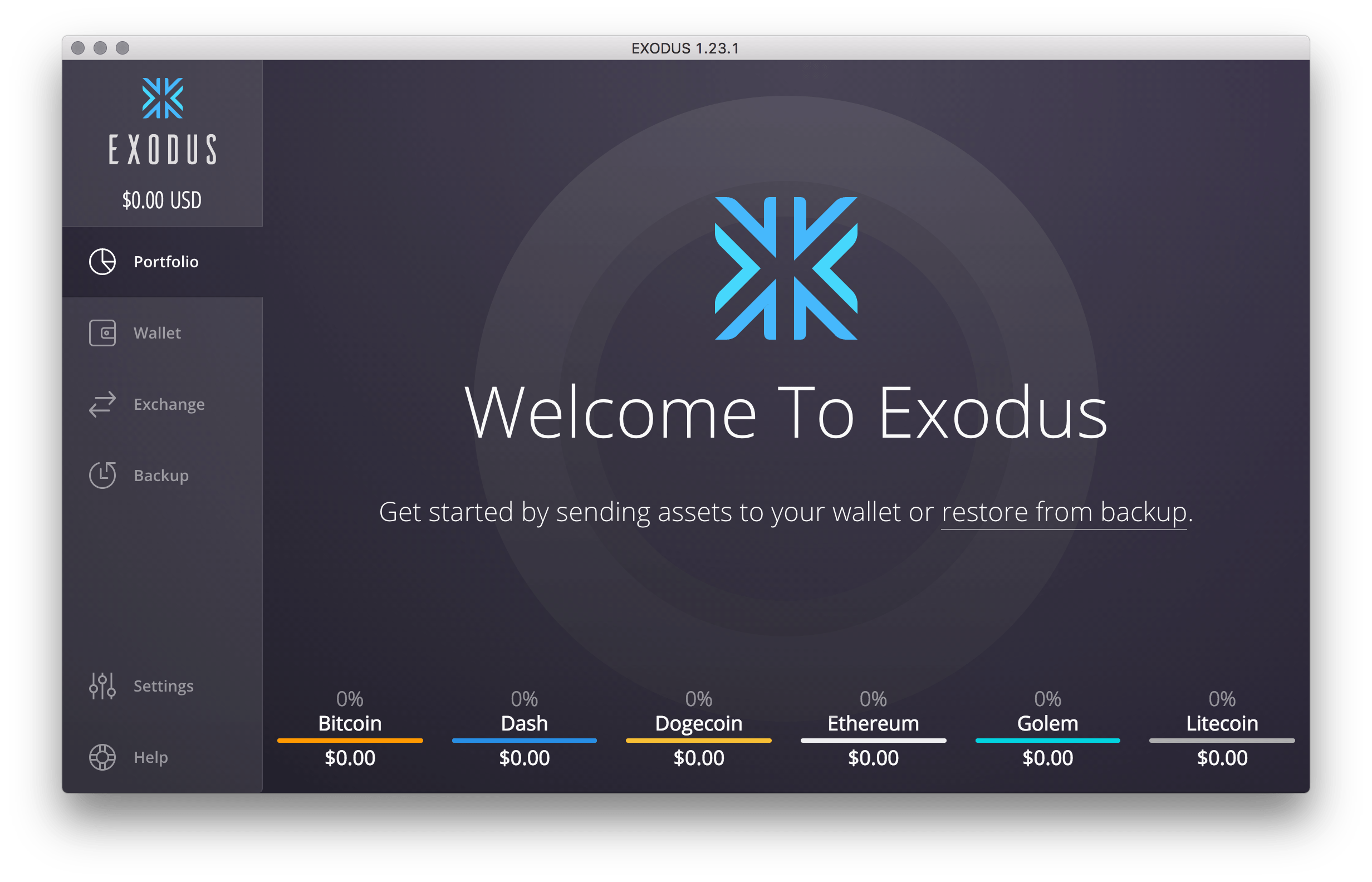 Exodus Software Crypto Wallet