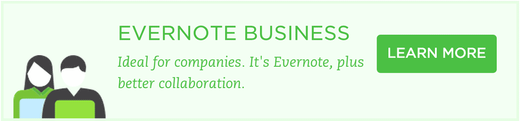 Evernote call to action for business
