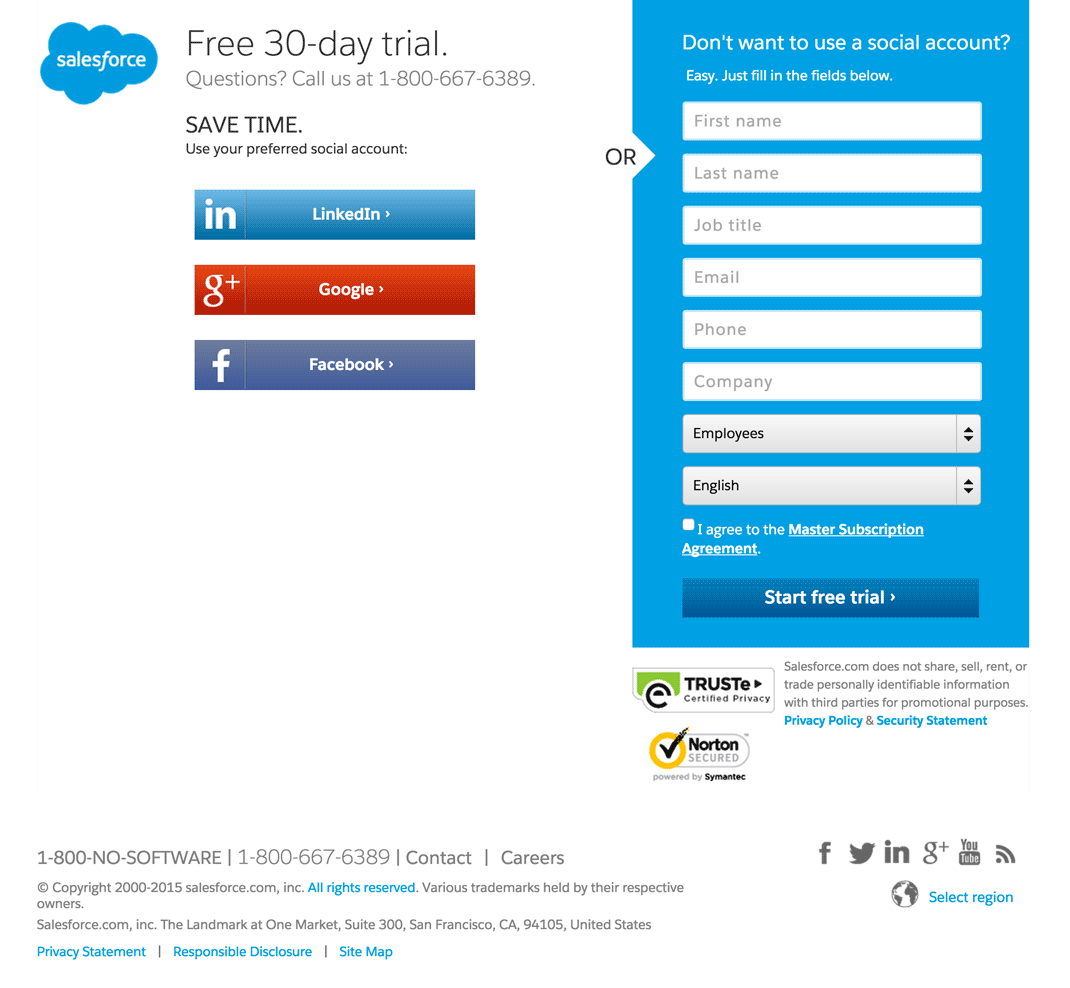 Salesforce trial sign-up page